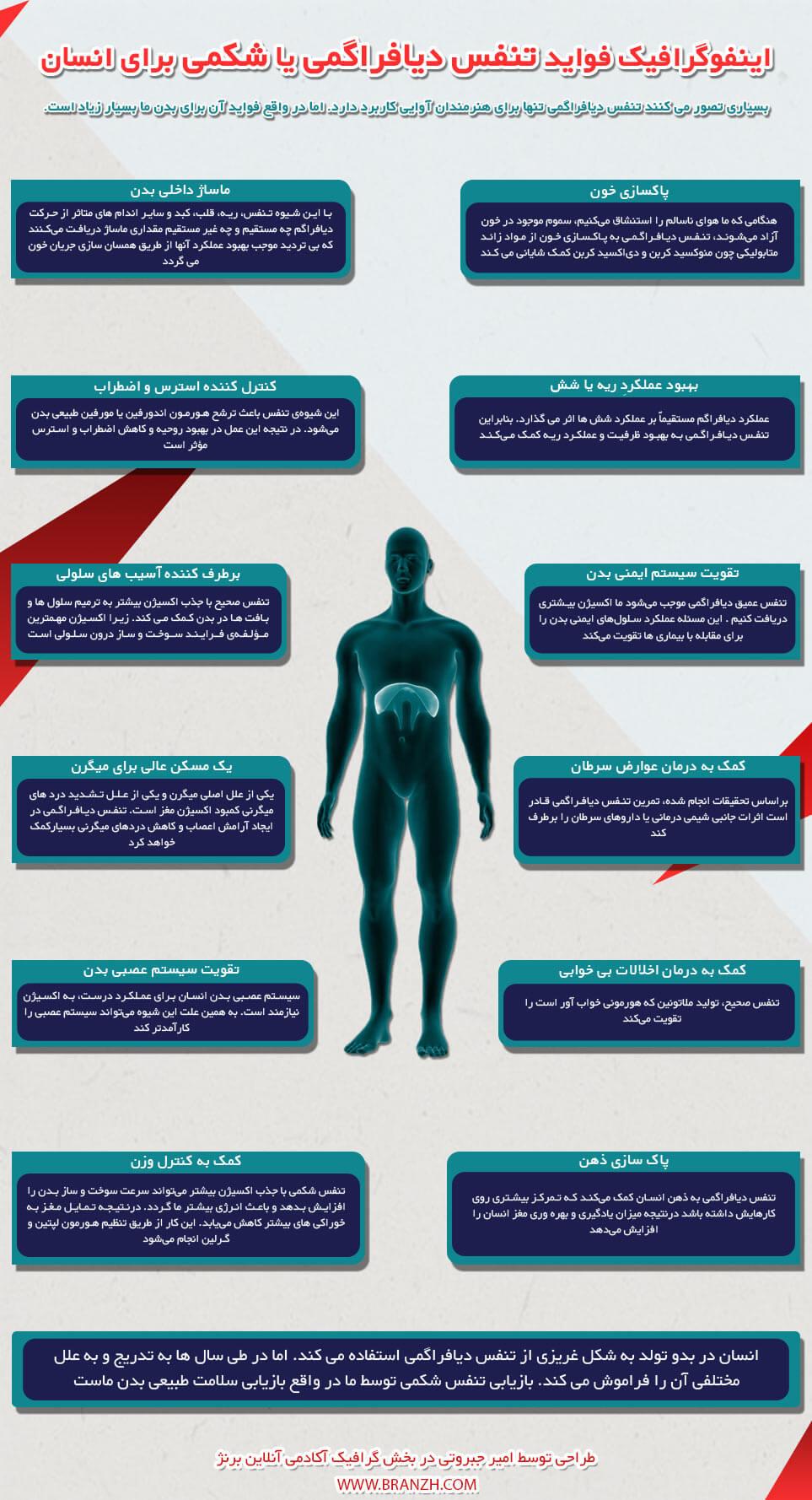 اینفوگرافیک فواید تنفس دیافراگمی یا شکمی برای سلامتی انسان