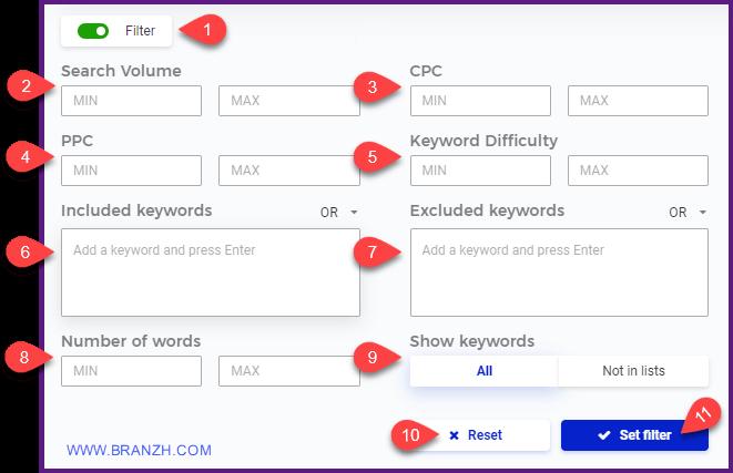 آموزش فیلتر کردن کلمات کلیدی در kwfinder