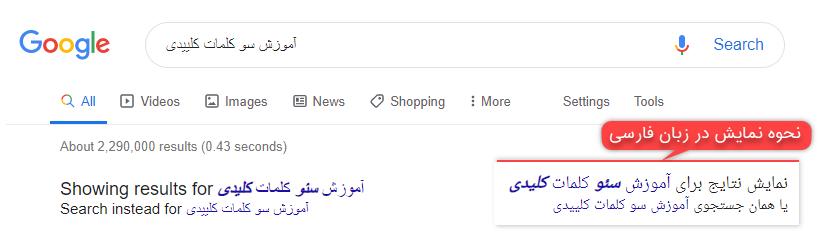 نحوه نمایش غلط های املایی و اشتباهات تایپی بعد از زدن دکمه سرچ در گوگل